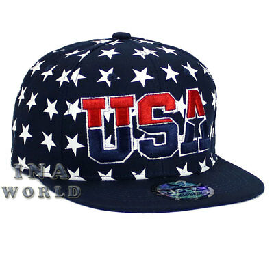 USA American Flag hat USA Embroidered Snapback Flat bill Baseball cap- Navy Blue
