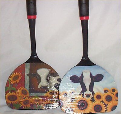 Cow Sunflower Large Black Wall Utensils Decor Kitchen Decoration Country Farm #2