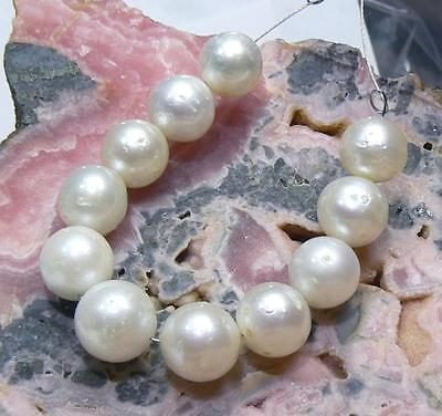 11 GENUINE WHITE ROUND SOUTH SEA SALTWATER PEARLS SET FULLY DRILLED 8-9mm