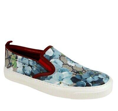 Gucci Women's Blue Bloom Supreme GG Canvas Slip On Sneaker 546150 8469
