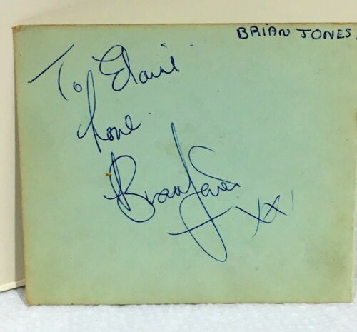 1960s BRIAN JONES ROLLING STONES SIGNED ALBUM PAGE - with BILL WYMAN ON THE BACK