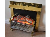 Electric 2 bar fire with brass finish surround and illuminated log effect