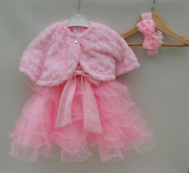Pink christening special occasion formal dress tutu 6-9 or 9-12 bolero/shrug and headband for sale