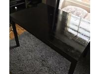 Dark dining table and chairs