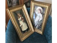 Set of 2 pictures of victorian girls holding flowers