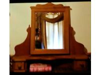 Nice chunky wood pivet mirror with shelf and drawers storage