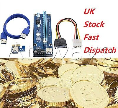 PCI-E 1x to 16x Powered USB 3.0 Extender Riser Adapter Card Molex Bitcoin UK