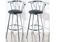 2 x BLACK PADDED SEAT CHROME FRAME REVOLVING BAR STOOL RESTAURANT STOOL