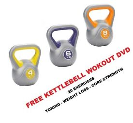 Kettlebell Set 4-6-8kg Fitness Weights Vinyl Kettlebells Free DVD