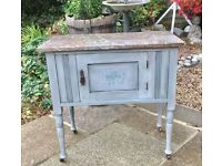 Antique marble top wash stand on wheels. 'Annie Sloan' grey chalk paint treated
