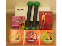 Zumba fitness kit (4xDVDs & weights)
