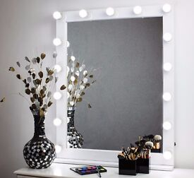 LARGE WHITE GLOSS LED BULBS HOLLYWOOD VANITY MAKEUP MIRROR LIGHTED 80х100 cm