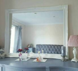 Large Ornate Mirror - White - Detailed Corner/Sides - Home Furniture