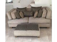 As new cream and gold sofa couch, mint condition, 4 seater, with futon/stool/coffee table