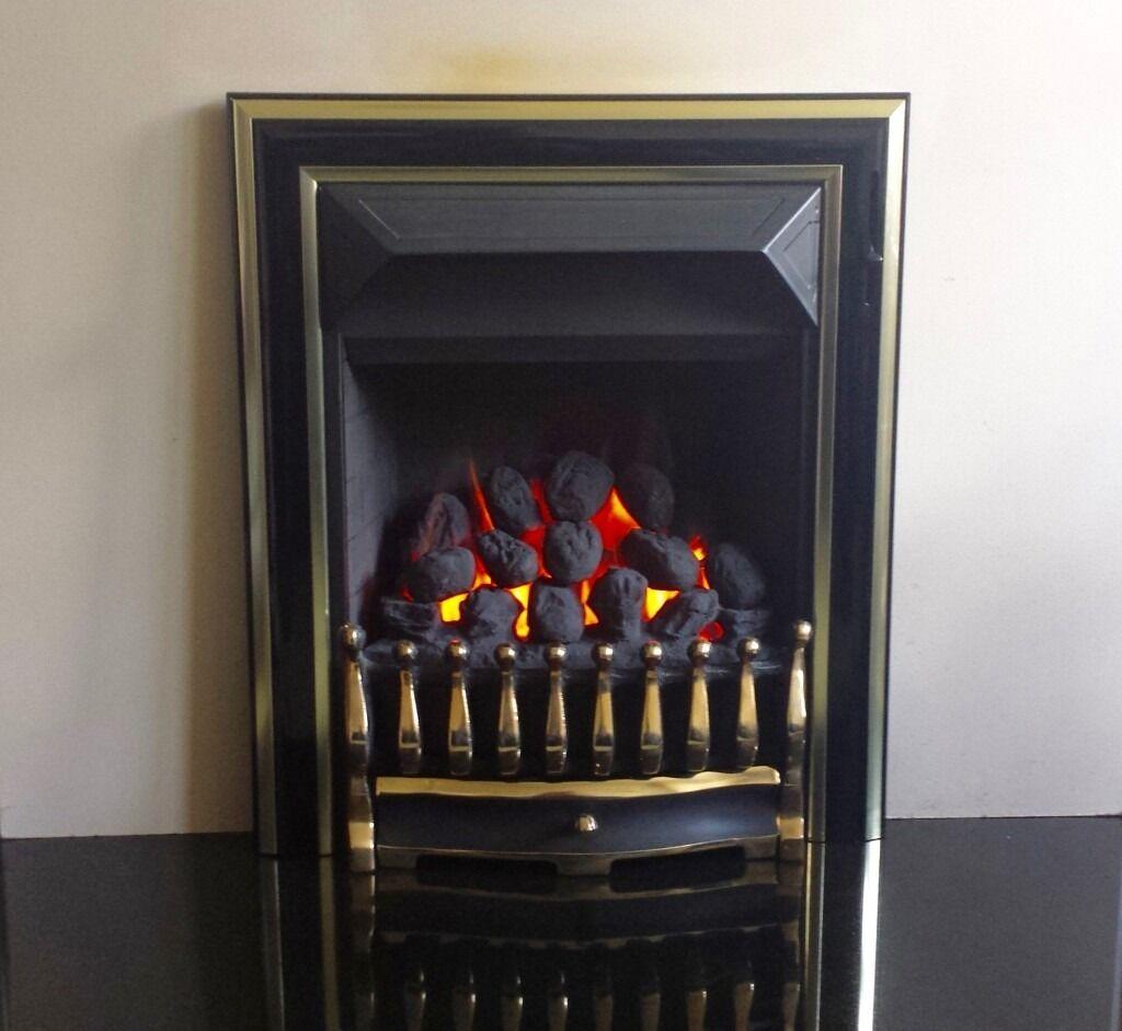 Valor Visage Fireslide 4.0 kw Coal Effect Inset Gas Fire ( Black/Brass )