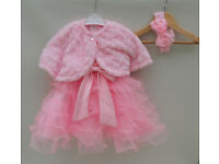 Pink christening special occasion formal dress tutu 6-9 or 9-12 bolero/shrug and headband Easter