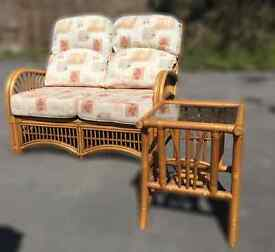 Conservetory Furniture, Two, two seater sofas with a small glass top coffee table.