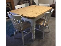 47ins by 35ins lovely pine table and 4 chairs waxed and painted in ivory chalk paint