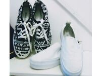 BUNDLE TWO PAIRS SIZE 5 SLIP ON CANVAS WEDGE BY H&M NEW DECK SHOES