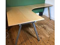 Ikea Galant corner desk pale wood finish with adjustable height legs