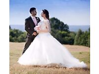 Designer wedding dress gown 2016 June size 12 / 14 white ivory sleeves Ronald Joyce