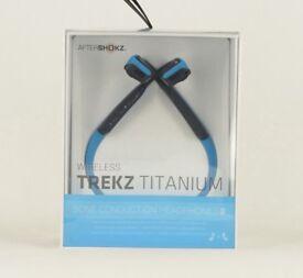 Trekz titanium aftershokz bone conduction wireless headphones. Blue.