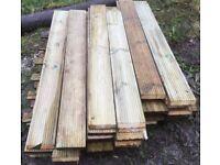 44x Timber Decking Planks 144cm long x 15cm x 3cm