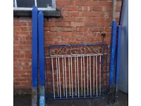 Metal blue & silver gate with posts,solid,garden gate,driveway gate,fencing,good condition