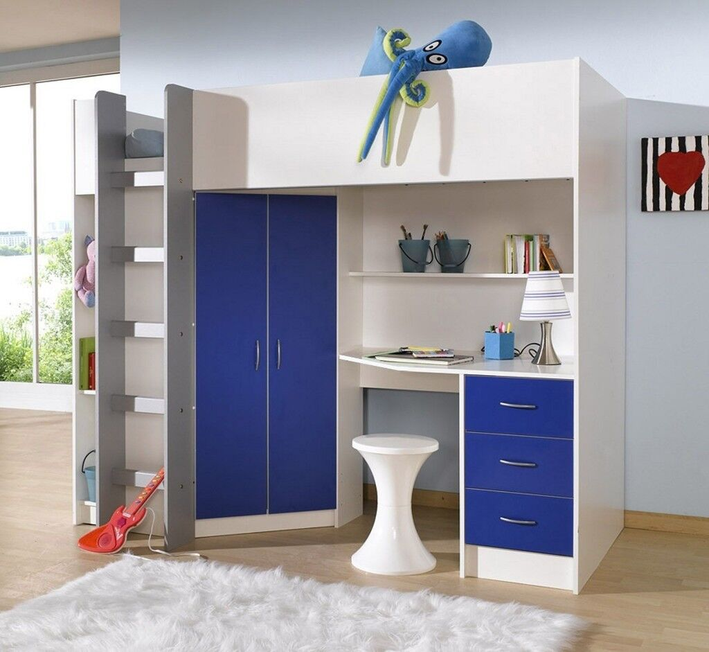 High Sleeper Finished In White With Under Bed Wardrobe And