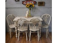 Rustic Solid Pine Farmhouse Dining Table & 4 Wooden Chairs