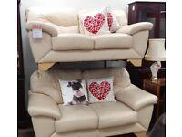 2 Seater Cream Leather Sofa(s)