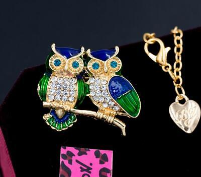 New Betsey Johnson Gold Rhinestone Crystal Enamel Owl Chain Necklace Brooch Gift