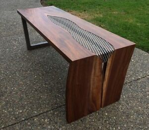Walnut and wire mesh coffee table