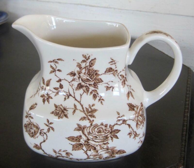 """Alfred Meakin Staffordshire Rosa Brown Transfer Ware 6"""" Pitcher"""