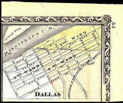 1876 Vintage Hand-colored Map ~ Dallas IL ~ Carthage & Burlington RR Line