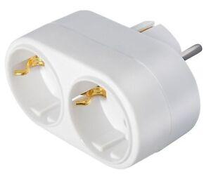 2 fach Stecker Verteiler 1 x Schuko Stecker an 2 x Schutzkontakt Steckdose weiss