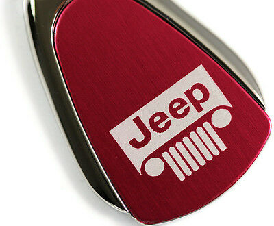 Jeep Keychain Vehicle Logo Chrome Red Tear Drop Metal Key Ring Lanyard Mopar