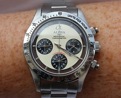 Alpha Mechanical chronograph SG2903 Watch Cream Dial And Glass Display Back 832