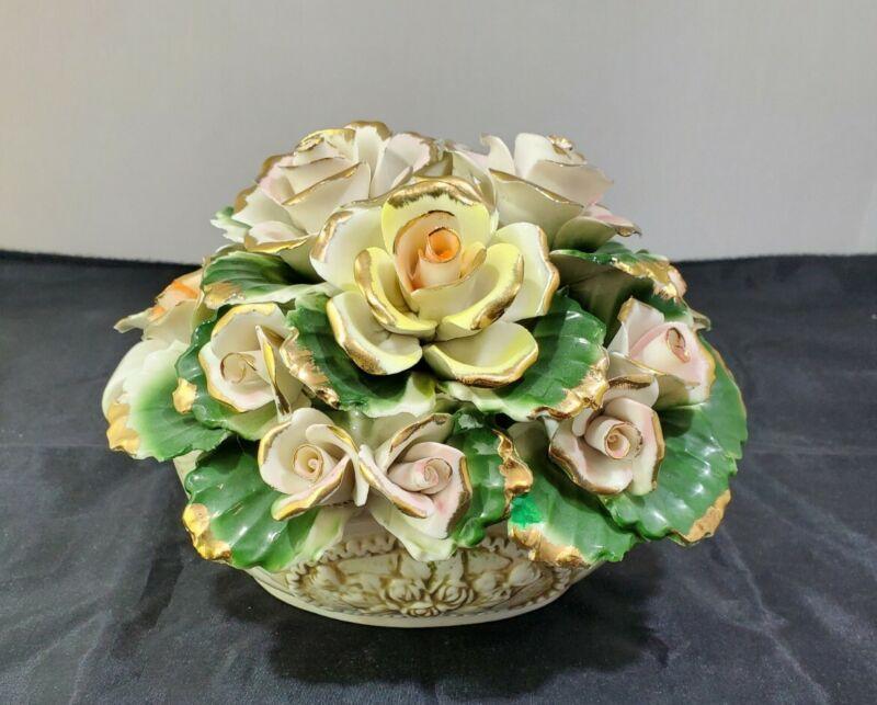 Vintage Capodimonte Style Porcelain Floral Arrangement sold Distributed by E J.