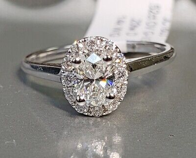 Natural OVAL Diamond G-VS1 GIA Halo 14k W Gold Engagement Ring .72 ctw Sz 6.5  3