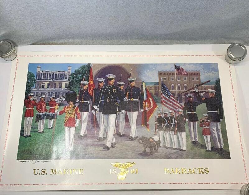 Poster USMC Raytheon Jim Ryan Marine Barracks Washington DC Autographed