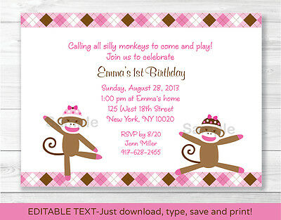 Sock Monkey Invitations (Pink Sock Monkey Printable Birthday Invitation Editable)