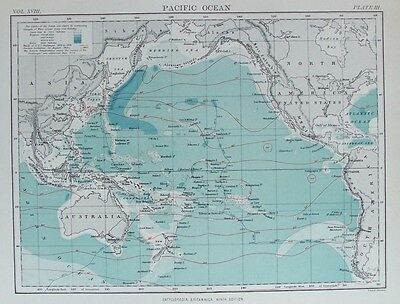 OLD ANTIQUE MAP PACIFIC OCEAN PLAN DEPTHS c1880's by JOHNSTON PRINTED COLOUR
