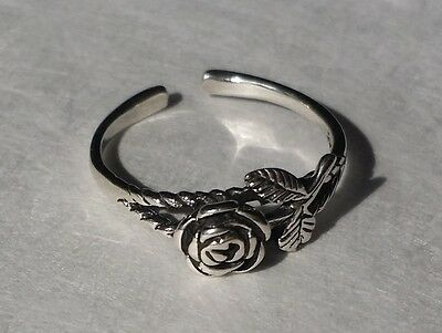Sterling Silver 925 Toe Ring Rose Adjustable