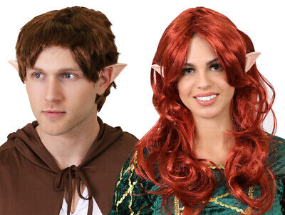 Earth Day Costume (MYTHICAL MAN WOMAN WIG AND EARS MIDDLE EARTH COSTUME WORLD BOOK DAY FANCY)