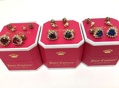 Juicy Couture Royal Punk Heart Safety Pin Stud Earring Set with Box WJW598 $58 Blue Stud Earring Box