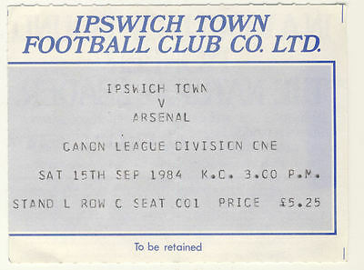 Ticket: Ipswich Town v Arsenal 15/9/1984