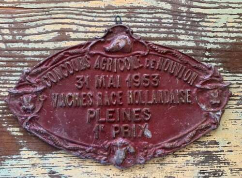 Vintage French 1953 RED Oval Metal Competition Award Plaque for Dutch Cow Breed