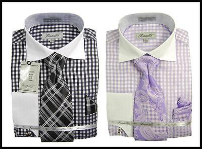 Fratello Gingham Plaid White Collar French Cuff Dress Shirt,Tie,Hanky FRV4115P2