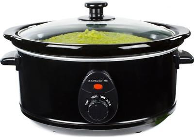 Andrew James Slow Cooker 3.5L Black Electric Small Removable Ceramic Inner Pot
